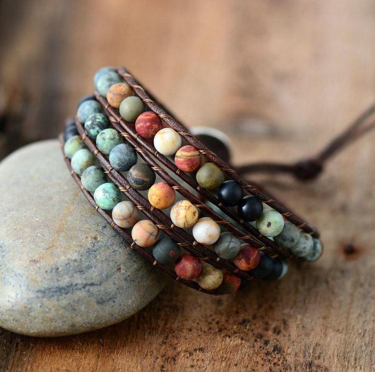 Jasper 3 Strands Wrap Bracelets | Boho Bracelet Handmade
