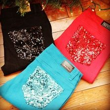 Jeans with sequin pockets