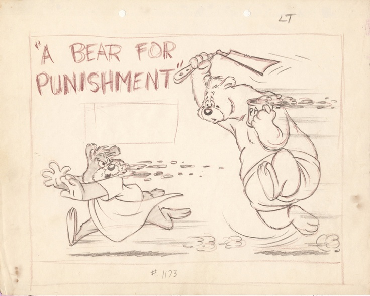 """Looney Tunes - """"A Bear for Punishment"""" (1951) directed by Chuck Jones title card layout by Chuck Jones  This was the last cartoon in The Three Bears series. Papa Bear's hatred of breakfast in bed was reportedly based on director Chuck Jones's own father's distaste for this Father's Day nicety."""