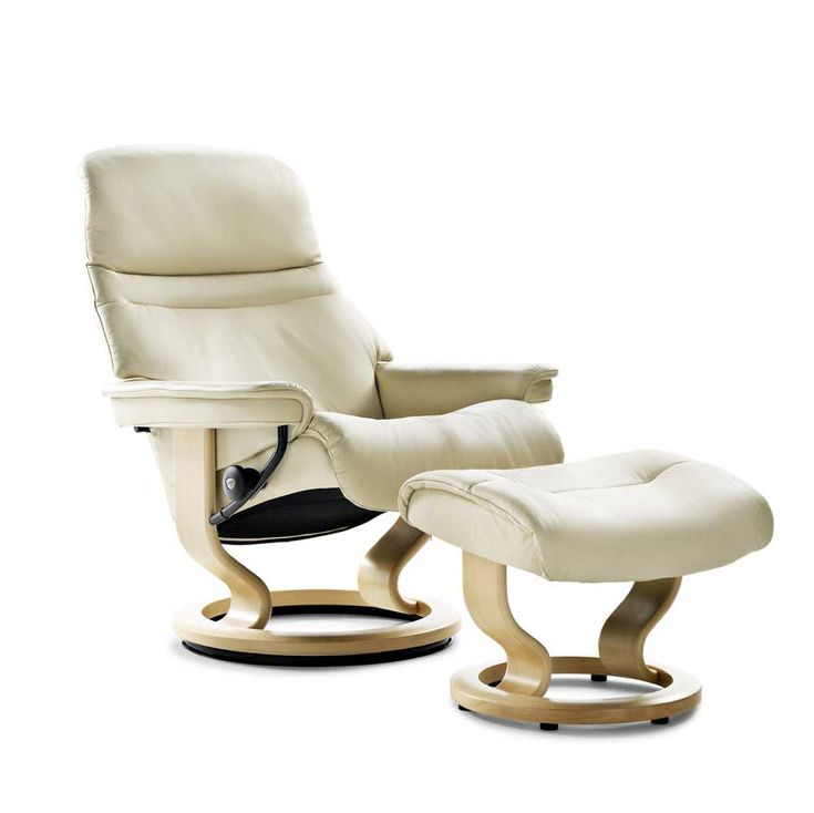 Stressless Recliners Large Sunrise Recliner and Ottoman by Stressless by Ekornes