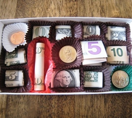 This is a creative gift for teens who only want money for their birthday! I gave this to my niece for Christmas and she was happy to get candy. She didnt even open it to see the cash. lol silly girl.
