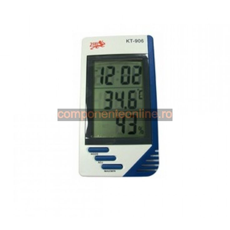 Termometru, ceas si higrometru, cu afisaj LCD, KT-906 - 110947