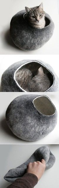 Gorgeous grey wet-felted cat cave - they can curl right up snugly inside this cat bed, mine would adore this and it would be washable too. Going to make one myself!