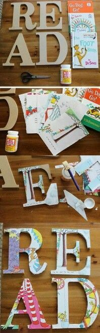 Cute letters with $2.00 wooden letters from Walmart and book pages. Could be a great nursery DIY!