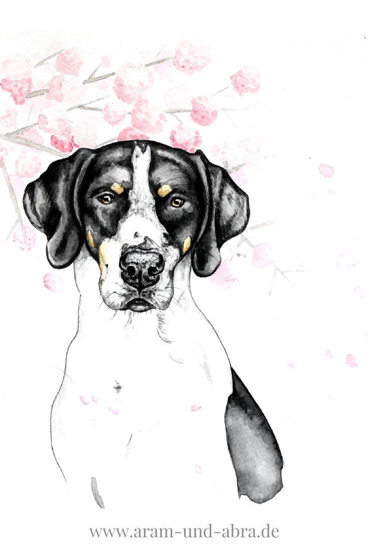 Hund in Aquarell   Portrait   Zeichnen   Kirschblüten   kreativ   Kunst   Tierportrait   Hunde   Dogge   Mischling   Aram und Abra