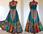 Tribal Bazaar -  Long African Patchwork Bohemian Gown,