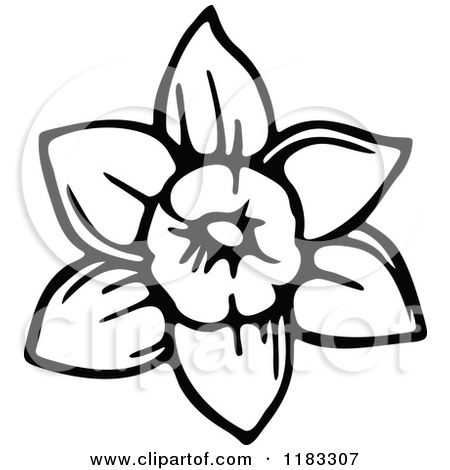 Royalty Free RF Black And White Daffodil Clipart