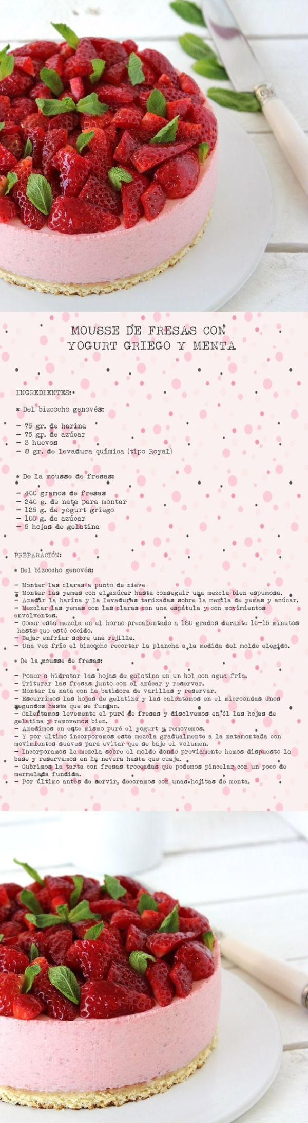 Mousse de fresas con yogur griego y menta | Pecados de Reposteria by arioco