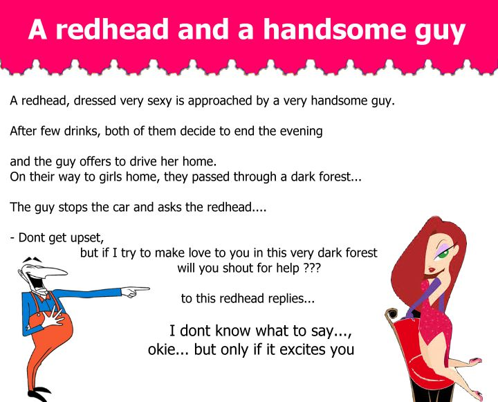 A redhead, dressed very sexy is approached by a very handsome guy