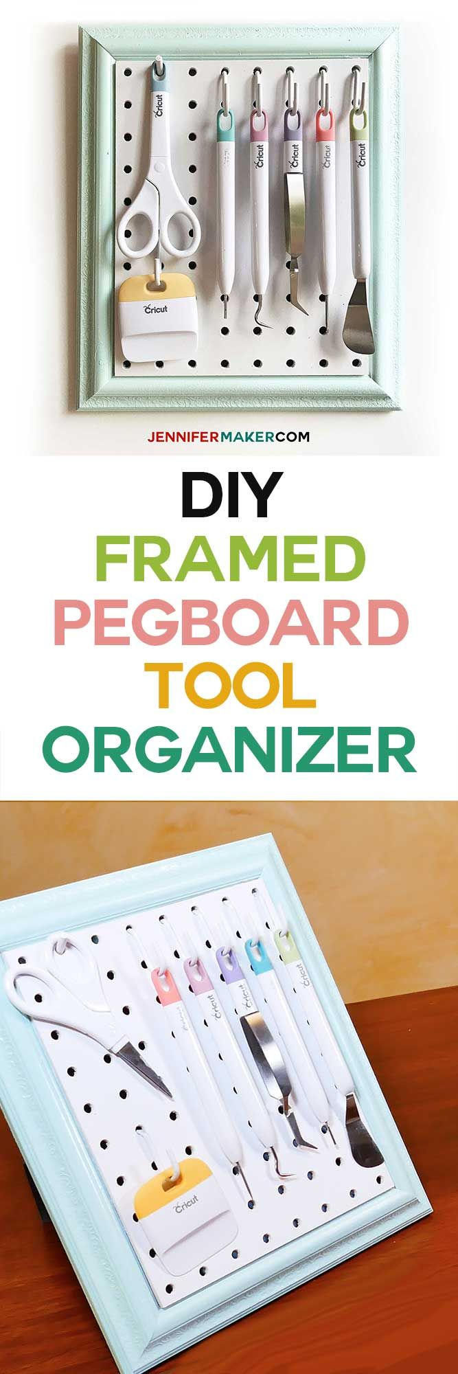 Framed Pegboard Craft Organizer Tutorial - How to Make a DIY Pegboard Frame for Your Craft Tools | #pegboard #craftroom #craftroomorganization