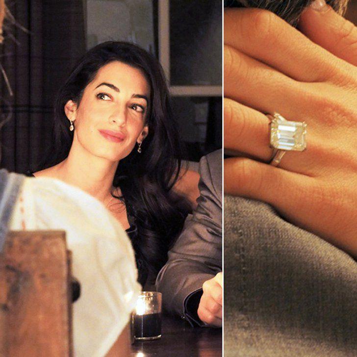 Pin for Later: Die schönsten Eheringe der Stars Amal Alamuddin George Clooney hielt um die Hand seiner Amal mit einem 7-karätigen Diamantring im April 2014 an.