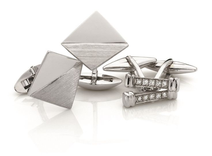 18ct white gold cufflinks and diamond bar cufflinks