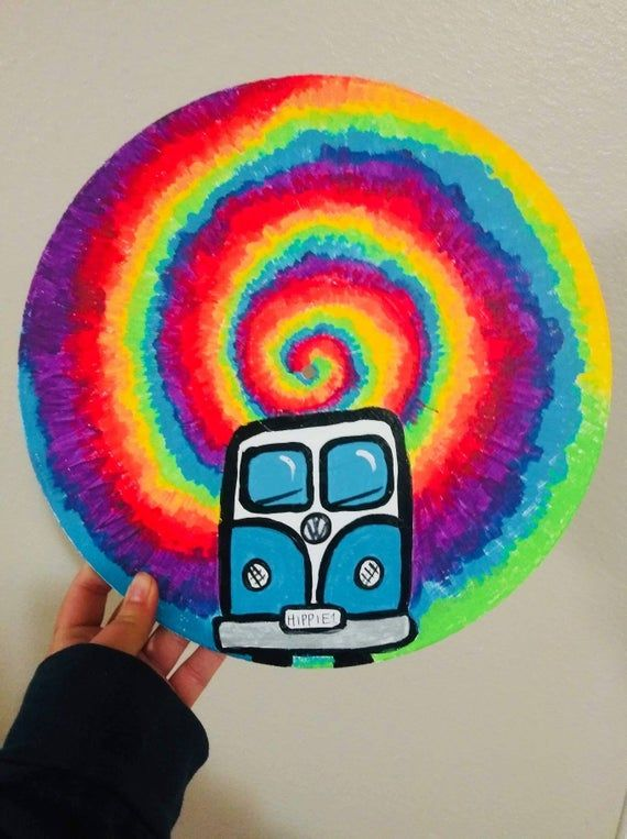 Double Sided Hand Painted Vinyl Record Hand Painted With Acrylic Paints All Of My Art Is One Of A Kind Vinyl Art Paint Hippie Painting Art Painting Acrylic