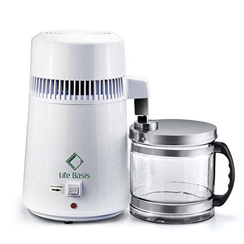 LifeBasis Distillateur d'eau avec Carafe en Verre de 4L pour Domicile, Dentaire, Hôpital et Laboratoire: Système de purification d'eau,…