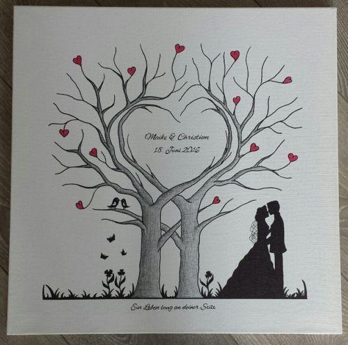 Árvore de casamento Coração Impressão Digital Da Lona Do Presente de Casamento 50×50 / 60×60 cm