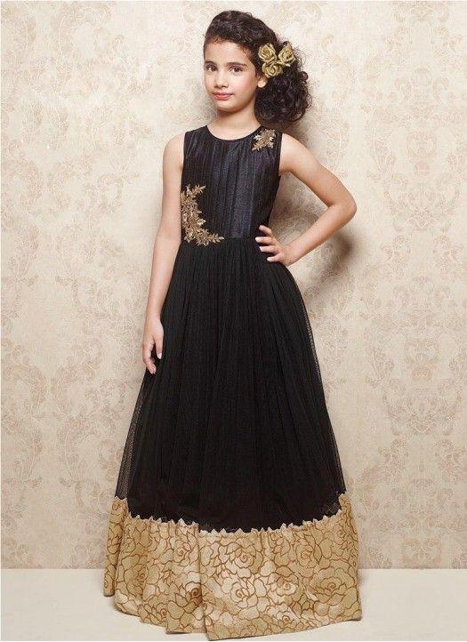 Latest Black Soft Net & Banarasi Silk Designer Gown @Rs.1699 #Fancy #Latest #Gorgeous #Designer #Kids #Gown