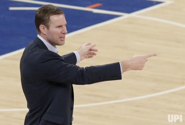 Chicago Bulls head coach Fred Hoiberg coaches on the court in the second half against the New York Knicks at Madison Square Garden in New…