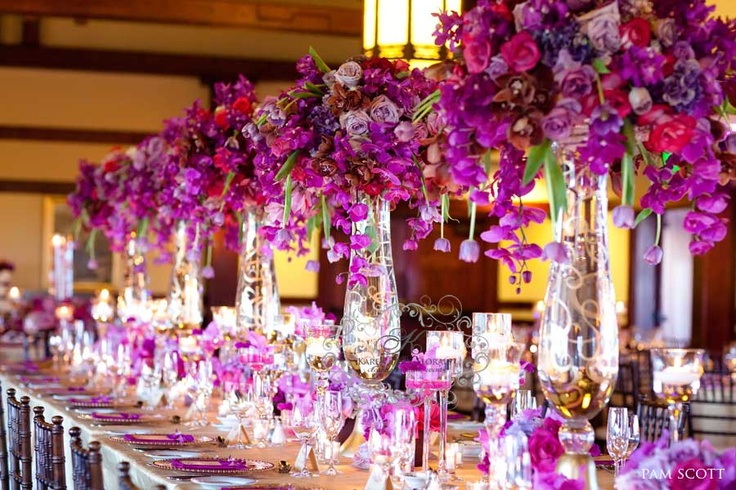 purple magenta wedding~ rectangular feast style table top