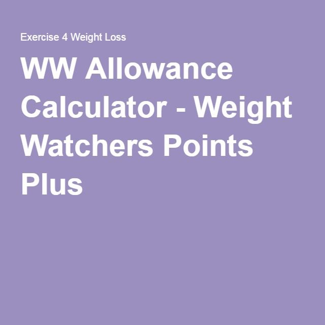 WW Allowance Calculator - Weight Watchers Points Plus