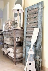 vintage shutter decor leaning on wall