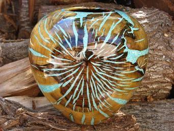 pistachio wood & turquoise by Eric Lima   Woodturning ...