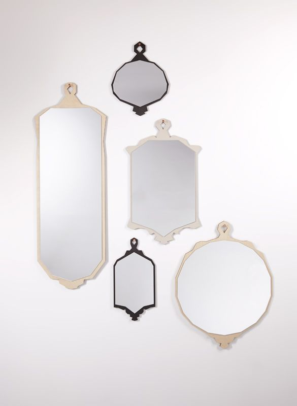 DECONSTRUCTED MIRRORS, EARL, VIC, FORD, ALBERT & LEX. Vintage inspired mirrors with faceted edges and exposed ply back. Designed and made by Haidee Drew www.haideedrew.com