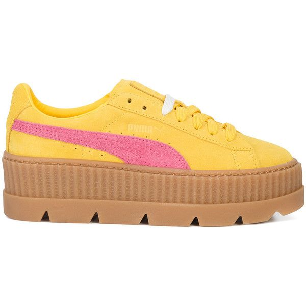Fenty X Puma Suede Cleated Creeper sneakers (220 SGD) ❤ liked on Polyvore featuring shoes, sneakers, puma footwear, suede trainers, suede leather shoes, suede shoes and puma creeper