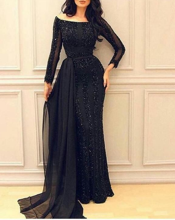 Black Evening Dresses Long 2017 Full Beaded Sequins Long Sleeve Evening Gowns Formal Dress Party Gowns