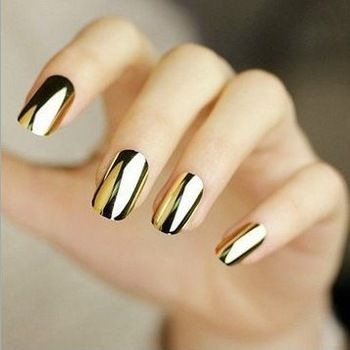 144PCS 12 Metallic Color Metal Plating False French Acrylic Nail Tips