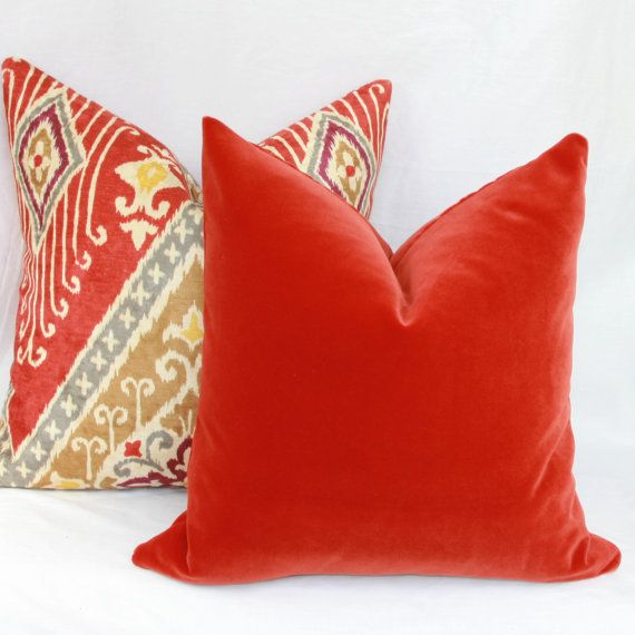 Burnt orange velvet pillow cover. 18