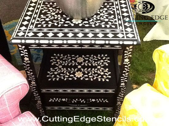 Google Image Result for http://blog.cuttingedgestencils.com/wp-content/uploads/2012/05/stenciled-inlay-table.jpg