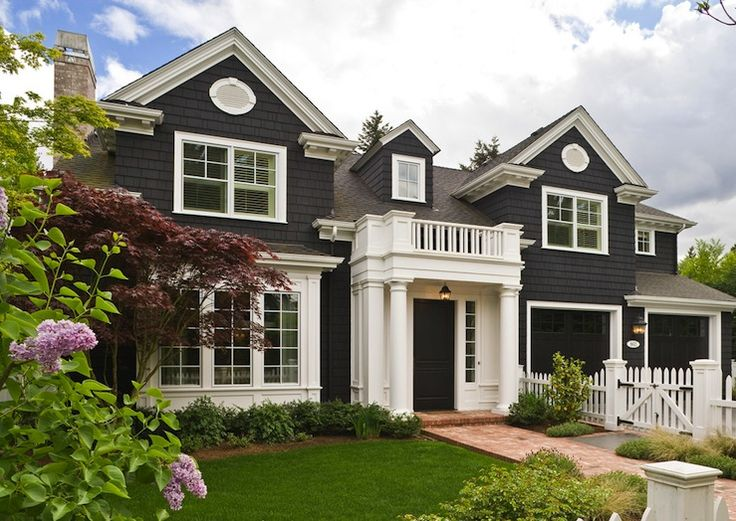 Love the dark exterior color with white trim adrian pinterest 3 car garage exterior for White house exterior color schemes