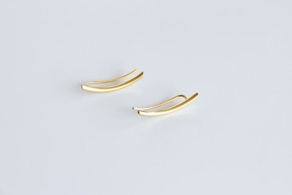24K Gold Plated Curved ear pins  Ear Climber  Ear by tothemetal