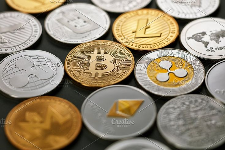 Gold coin bitcoin against the background of the ultra