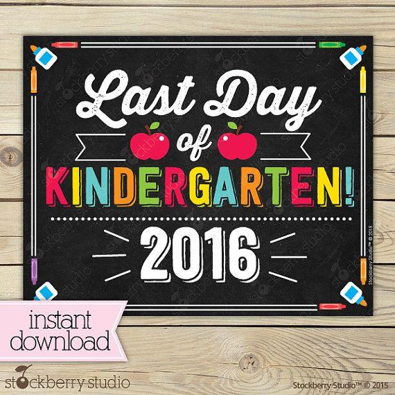 Last Day of Kindergarten Sign Last Day of by stockberrystudio