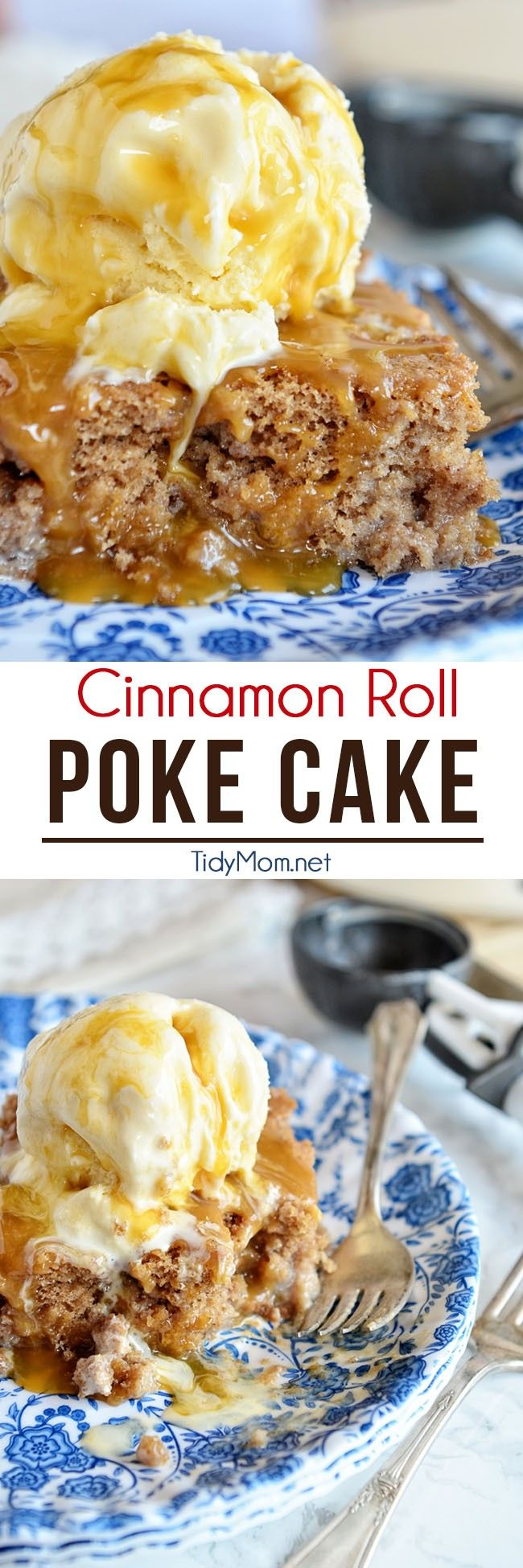 Transform a boxed-mix cake into a delicious cinnamon roll-flavored poke cake. Serve with vanilla ice cream and caramel sauce and watch it disappear!