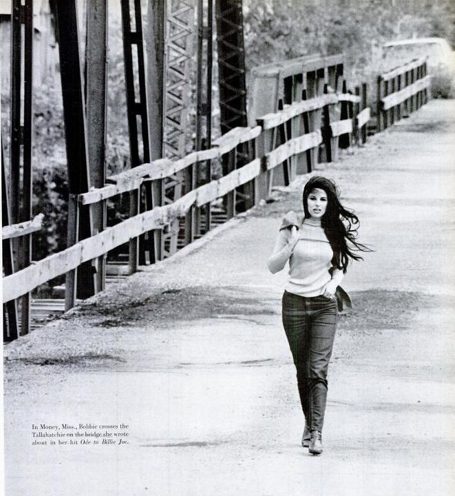 Bobbie Gentry on the Tallahatchie Bridge. Love this photo; love her music! Classic.