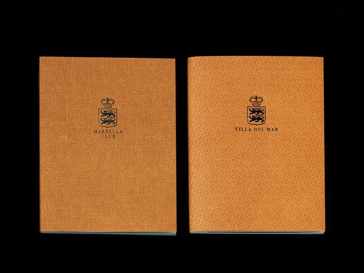 Block foiled brochure designed by Pentagram for Spanish hotel, golf club and spa resort Marbella Club
