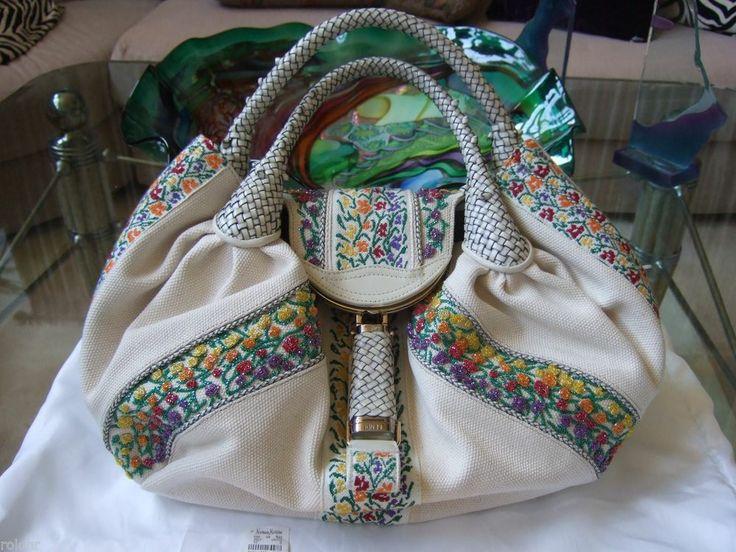 $5100 NWT FENDI SPY BAG EMBROIDERED WHITE CREAM PURPLE YELLOW GREEN FLAP BAG #FENDI #TOPHANDLESPYBAG
