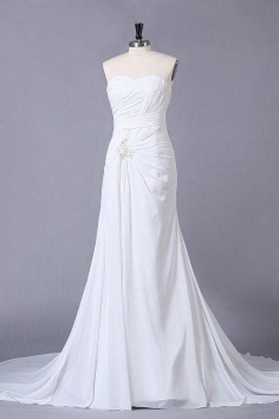 Chiffon Sweetheart Romantic Bridal Gowns - Order Link: http://www.theweddingdresses.com/chiffon-sweetheart-romantic-bridal-gowns-twdn0620.html - Embellishments: Applique , Beading , Sequin , Draped; Length: Chapel Train; Fabric: Chiffon; Waist: Natural - Price: 140.06USD