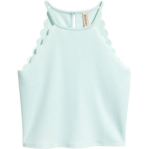 Top with Scalloped Trim $12.99 (£9.85) ❤ liked on Polyvore featuring tops, shirts, crop tops, tank tops, green jersey, textured crop top, cut-out crop tops, short crop tops and jersey crop top