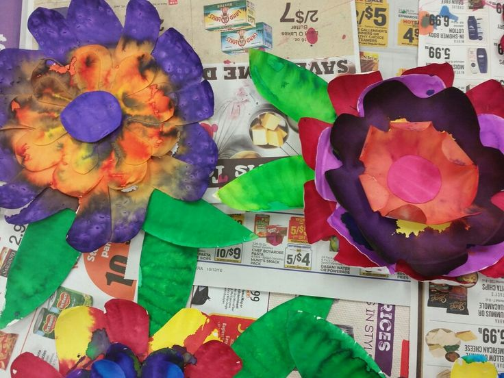 Liquid watercolor 5 layer paper plate flowers.