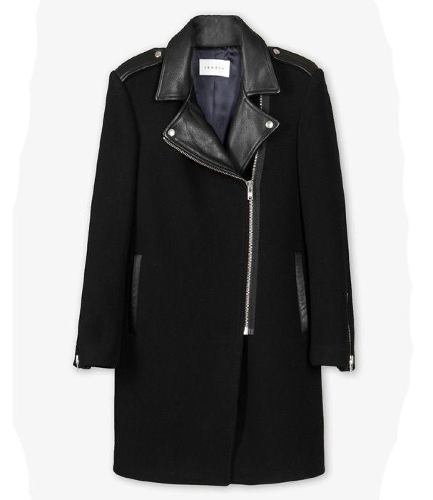 Manteau en laine avec col façon veste en cuir, Sandro