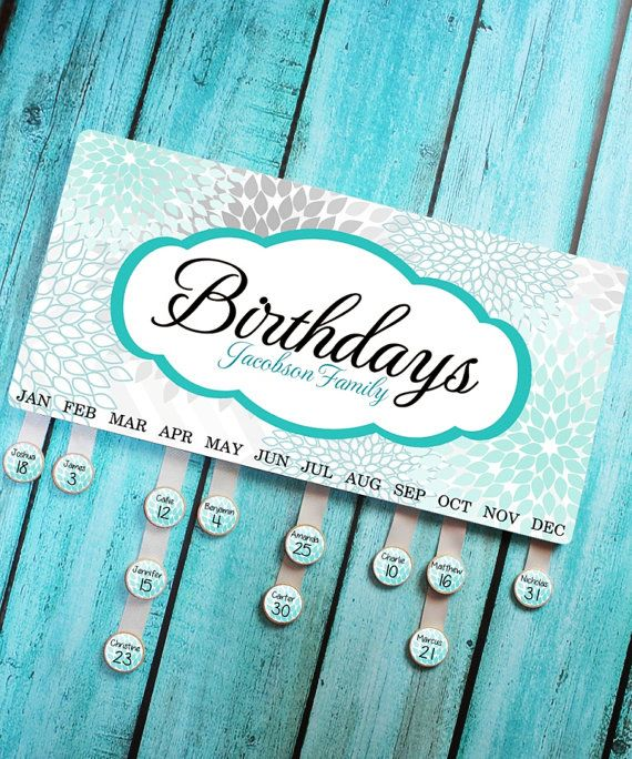 Personalized BIRTHDAY BOARD Turquoise and Gray Mums Family Birthdays Teacher Classroom Birthday Organizer Grandparent Gift BB0005