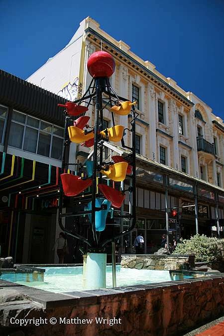 The iconic 'Bucket Fountain' in Cuba Street, Wellington NZ. It's a busy shot, but I couldn't get an angle with an uncomplicated background.