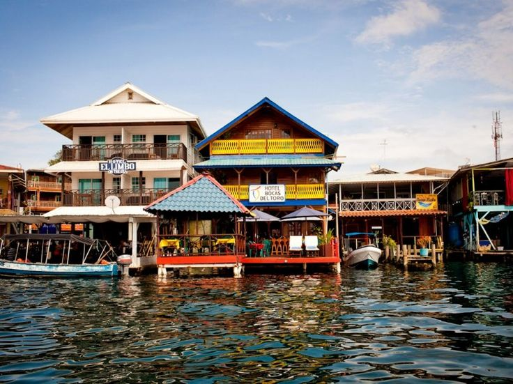 Panama - Most hotels and restaurants in Bocas town are on the water, like the brightly painted Hotel Bocas del Toro, center.