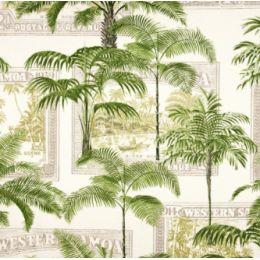 Key Largo Palms in Green Outdoor Fabric PO1424