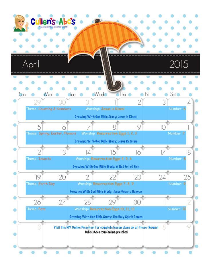 April Calendar Numbers For Preschool : Best images about diy christian preschool on pinterest