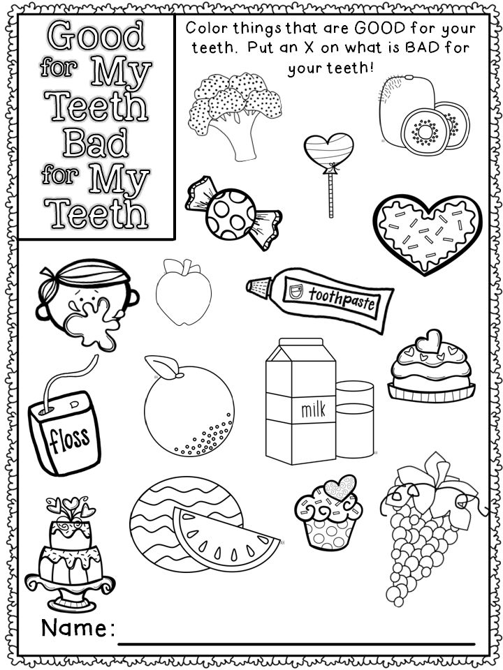 dental coloring pages for preschoolers - photo#28