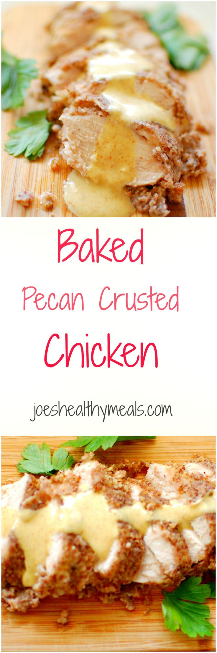 Baked chicken chockfull of delicious flavors!  Pecan Crusted Chicken Breasts. | joeshealthymeals.com